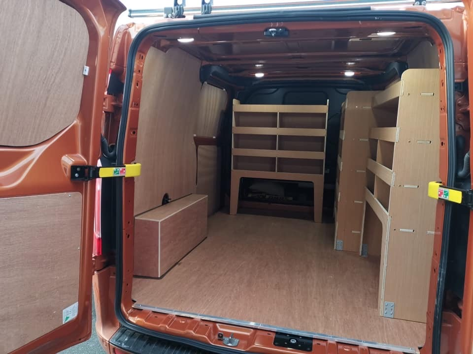 Van retro fitted with panels and racking in Birmingham  by our skilled towbar fitting engineers.