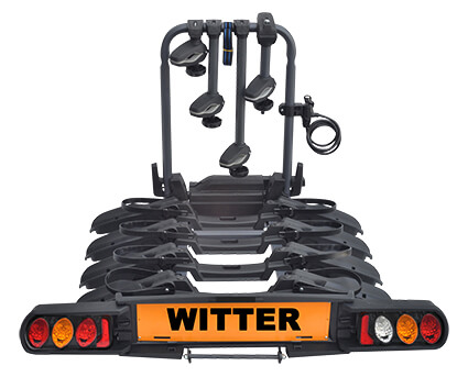 Witter Cycle Carrier Pure Instinct Towball Mounted 4 Bike Cycle Carrier with foldable rails